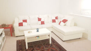 L Shape White leather custom sofa bed for sale