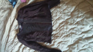 Halogen Leather and suede jacket