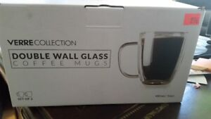 2 new 16 oz Double Wall Large Glass coffee mugs