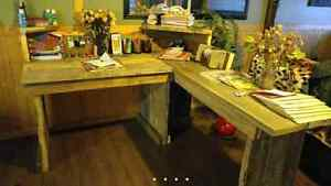Rustic barn wood L shape desk
