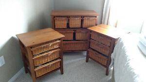 Wicker dresser and nightstands