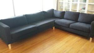Ikea Karlstad Sectional with dark grey cover