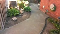concrete sidewalks and pads and repairs