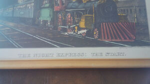 Vintage Print in Frame: The Night Express: The Start - Train Kitchener / Waterloo Kitchener Area image 2