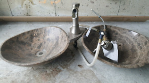 Top mounted sink with faucet sets