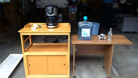 Microwave Cart, 3L water jug, coffee maker, printer stand