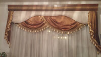 Beige curtain with wooden trim (negotiable)