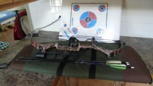 compound bow with stuff