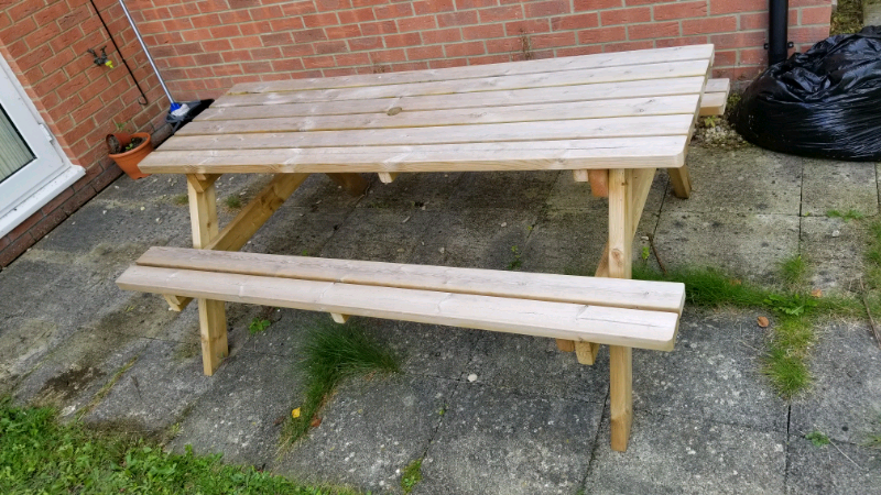 Amazing Pub Garden Table 8 Seater Pressure Treated Wood Free Delivery In Whiteley Hampshire Gumtree Machost Co Dining Chair Design Ideas Machostcouk
