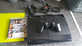 PlayStation 3 slim 250gb all wires controller one game GTA V fully wor