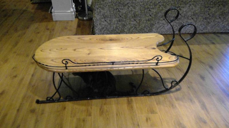 Solid Oak Custom Made Sled Coffee Accent Table