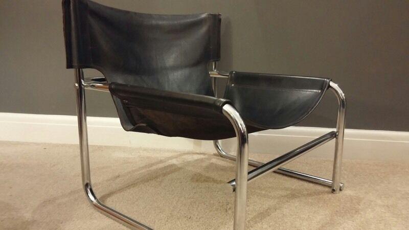 rare mid century retro leather sling chair robert kinsmanomk for habitat 60s