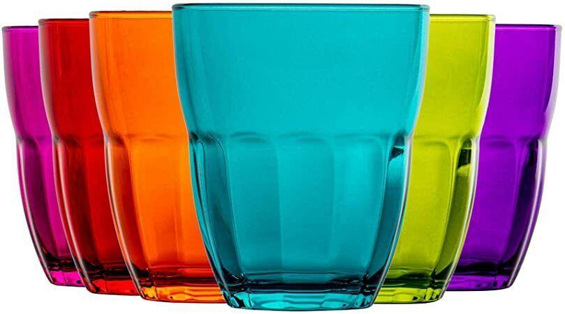 Bormioli Ercole Set 6 Bicchieri In Vetro, Multicolor,  Per Acqua e Vino Cl 23