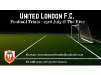 Football Trials @ The Hive for United London F.C. (Additional Football Coach also required)
