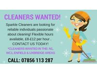 Domestic Cleaners Wanted - N1, WC1, EN3 & UB3 Areas