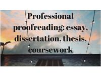 Academic proofreading and editing services: undergraduate, Masters, PhD essays, thesis