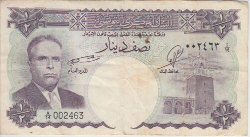 Tunisia Banknote P. 57-2463  ½  Dinars, F WE COMBINE
