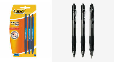 3 pack of bic soft feel clic grip pens