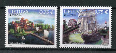 Lithuania 2018 MNH Bridges Europa Bridge 2v Set Boats Ships Architecture Stamps