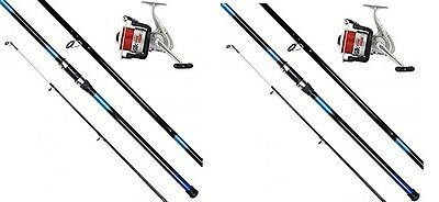 2 X 13ft BEACHCASTER ROD AND REEL SET BEACH CASTER RODS 20lb LINE ON REELS