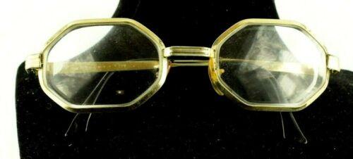 Vintage Eyeglasses Spectacles Octagonal Lens Brass Frame