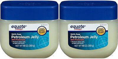 2 Equate 100% Pure Petroleum Jelly Skin Protectant  Moisturizer 13 oz  - 13 Oz
