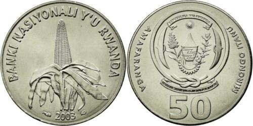 RWANDA: 5-PIECE UNCIRCULATED CURRENT COIN SET, 1 TO 100 FRANCS