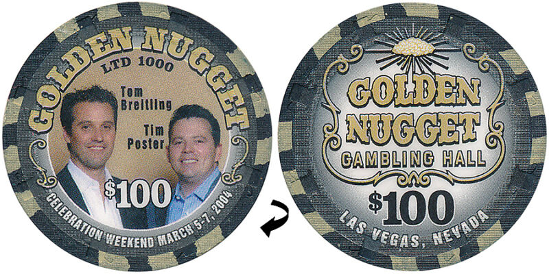GOLDEN NUGGET $100 BREITLING & POSTER CASINO CHIP LAS VEGAS NV - FREE SHIPPING