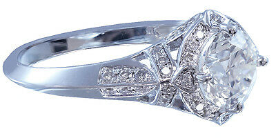 GIA H-VS2 14K White Gold Round Cut Diamond Engagement Ring Halo Art Deco 1.95ctw