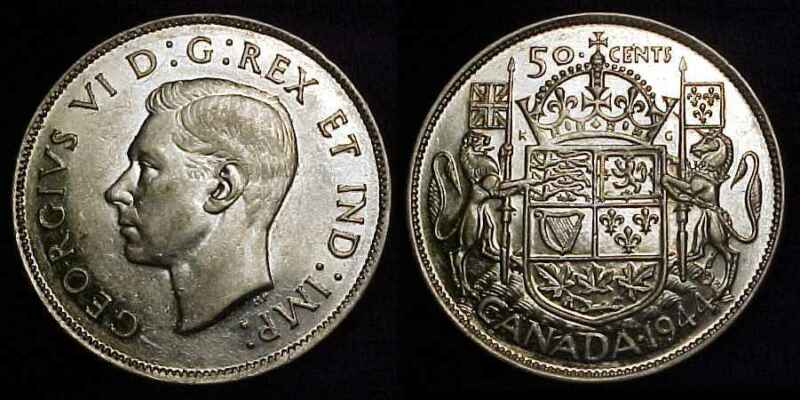CANADA 1944 WD Silver Fifty Cents AU