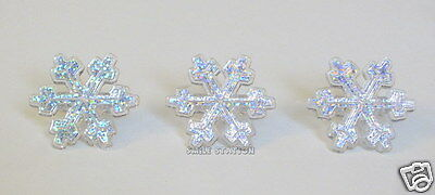 Frozen Cake Supplies (12 Frozen Glitter Snow Flake Cup Cake Ring Topper Xmas Winter Party Favor)