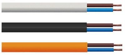 2 Core Flexible 6 Amp Mains Cable 0.75mm sold by the Metre - Choice of colour