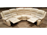 Faux leather manual recliner corner sofa - cream.
