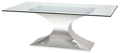 Nuevo 78 Or 94 Glass Desk Or Conference Table With Polished Stainless Base