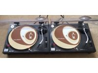 2 X Technics SL-1210 Mk2 Turntables With Original Lids & Ortofon Needles