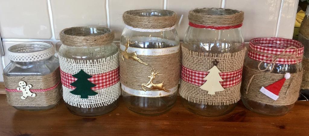 5 x Christmas candle / centrepiece jars