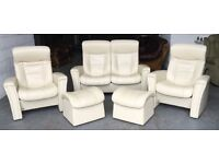 Ekorness Style Stressless 6pc cream leather sofa set WE DELIVER UK WIDE
