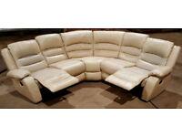 Faux leather manual recliner corner sofa - cream.