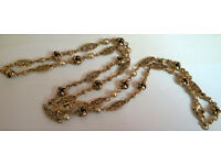 gold plated pearl and knot chain