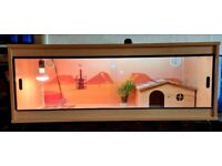 Repti-Life Vivarium 48x18x18. With hide, heat mat, Lamp, UV, thermostat, timer