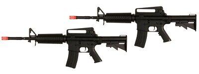 Lot of 2 - Well D94S M4 M16 RIS AEG Electric Airsoft Rifle Gun 6MM - BLACK 2 Airsoft M16 Rifles