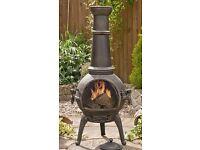 Sierra Bronze Jumbo Cast Iron Chimenea Fireplace with Grill approx 4 FEET TALL