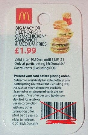 McDonalds Loyalty Keyfob -