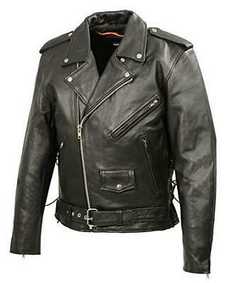 Mens Classic Side Lace Police Style Premium Cowhide Motorcycle Jacket Classic Side Lace Motorcycle Jacket