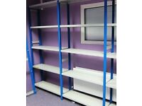 Link 51 Industrial Metal Shelving Like New 2 bays Only in one run Blue Uprights & Light Grey Shelves