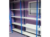 Link 51 Used High Quality Industrial Metal Shelving Like New 2 bays Blue Uprights Light Grey Shelves