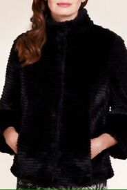 Marks and Spencer faux fur black coat L new
