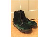 Dr Martens Green Velvet Boots size 5