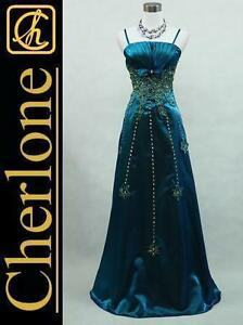 Cherlone-Satin-Dark-Blue-Long-Prom-Ball-Gown-Wedding-Evening-Dress-UK-Size-12-14