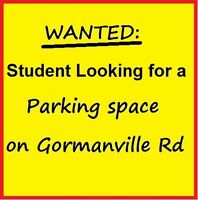 Student looking for a parking space near 575 Gormanville Road